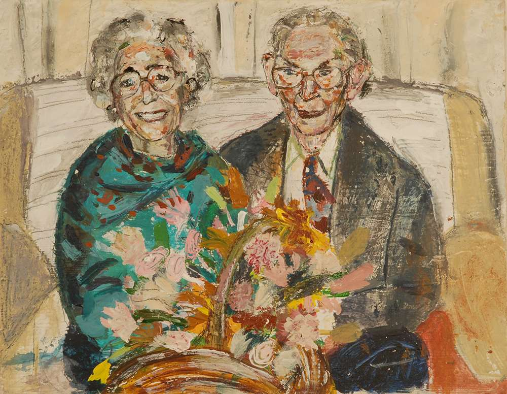 Gran and Grandad Crawford - A family portrait by artist Katie Pope