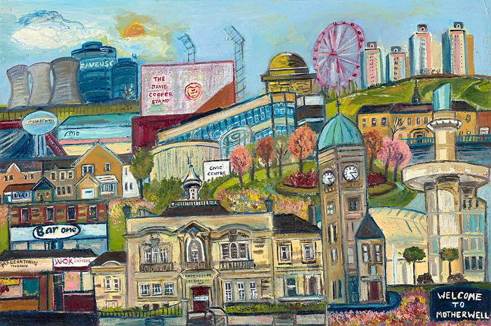 A painting of Motherwell by Glasgow artist Katie Pope